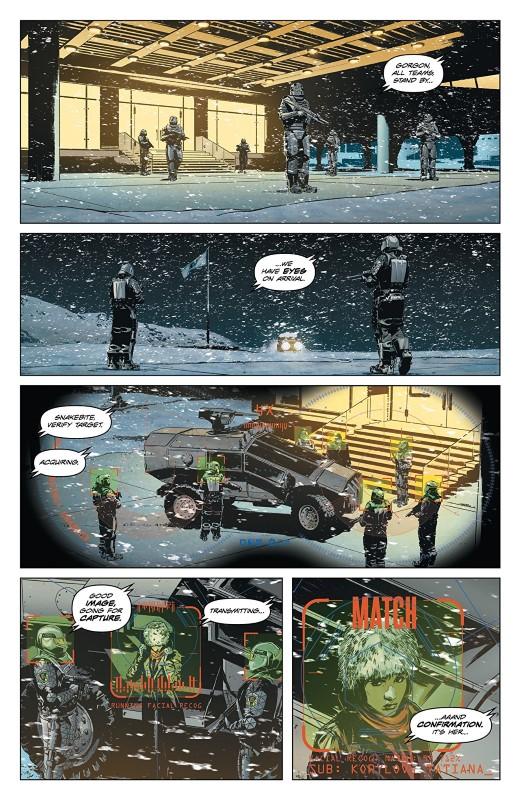 Lazarus Risen #1 art by Michael Lark, Tyler Boss, Santi Arcas, and letterer Simon Bowland