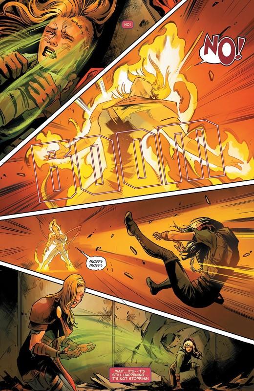 Captain Marvel #4 art by Carmen Carnero, Tamra Bonvillain, and letterer VC's Clayton Cowles