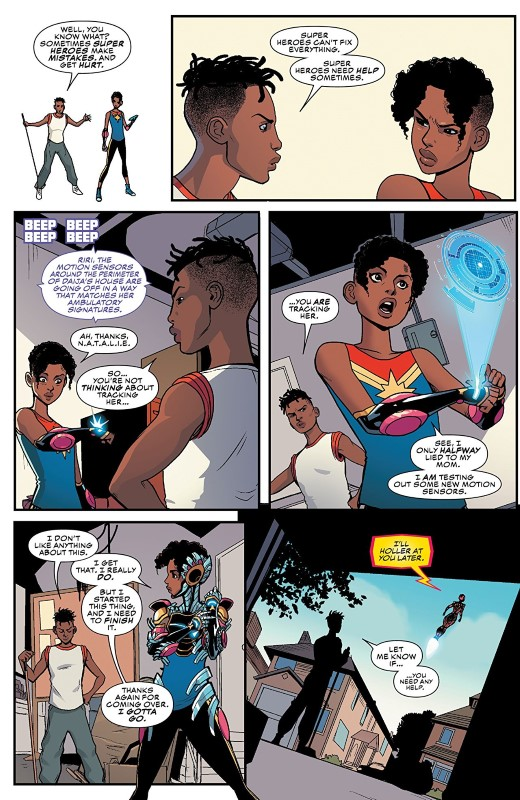 Ironheart #5 art by Luciano Vecchio, Geoffo, Matt Milla, and letterer VC's Clayton Cowles