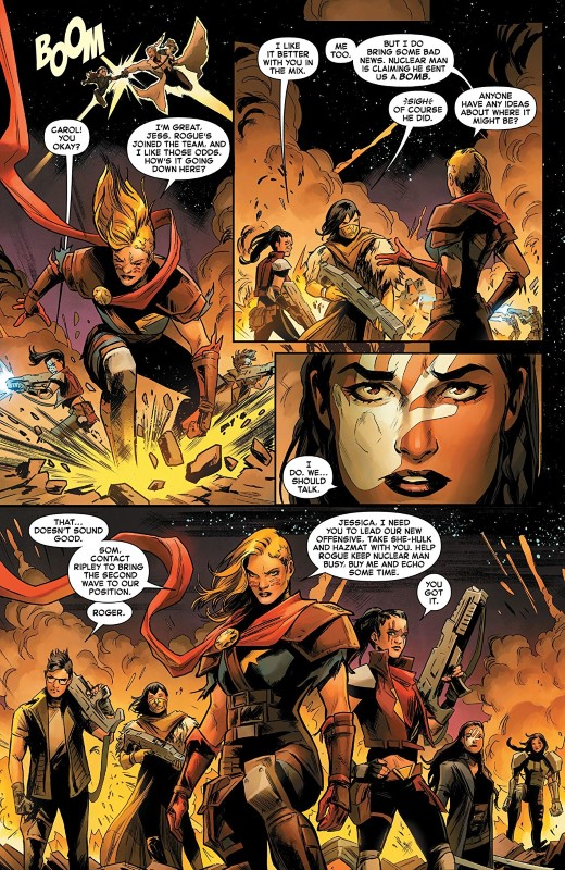 Captain Marvel #5 art by Carmen Carnero, Tamra Bonvillain, and letterer VC's Clayton Cowles
