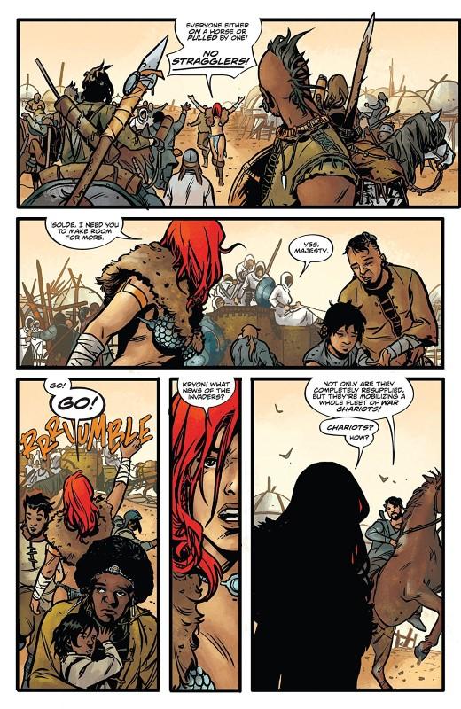 Red Sonja #4 art by Mirko Colak, Dearbha Kelly, and letterer Hassan Otsmane-Elhaou