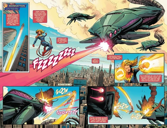 Captain Marvel #8 art by Carmen Carnero, Tamra Bonvillain, and letterer VC's Clayton Cowles