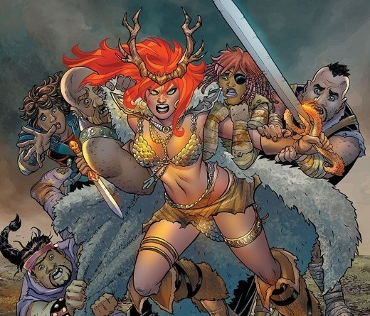 Red Sonja #6 cover by Amanda Conner and Paul Mounts