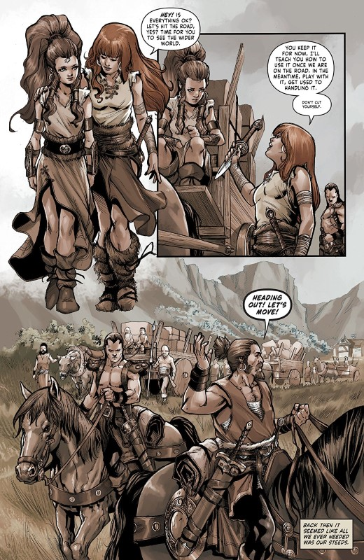 Red Sonja: Birth of the She-Devil #2 art by Sergio Davila, Ulises Arreola, and letterer Taylor Esposito