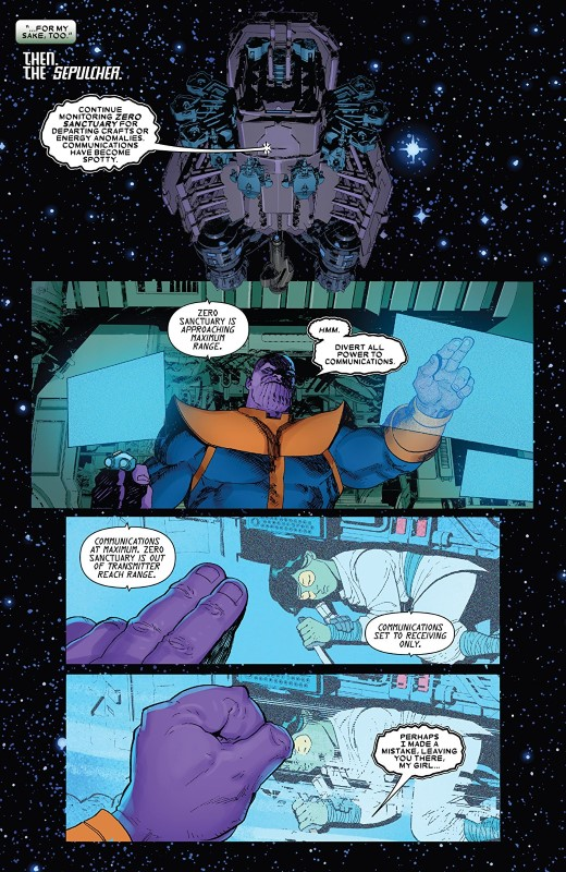 Thanos #5 art by Ariel Olivetti, Antonio Fabela, and letterer VC's Joe Caramagna