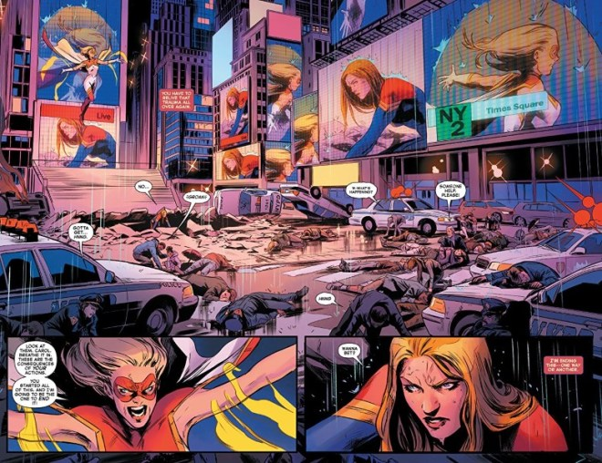 Captain Marvel #11 art by Carmen Carnero, Tamra Bonvillain, and letterer VC's Clayton Cowles