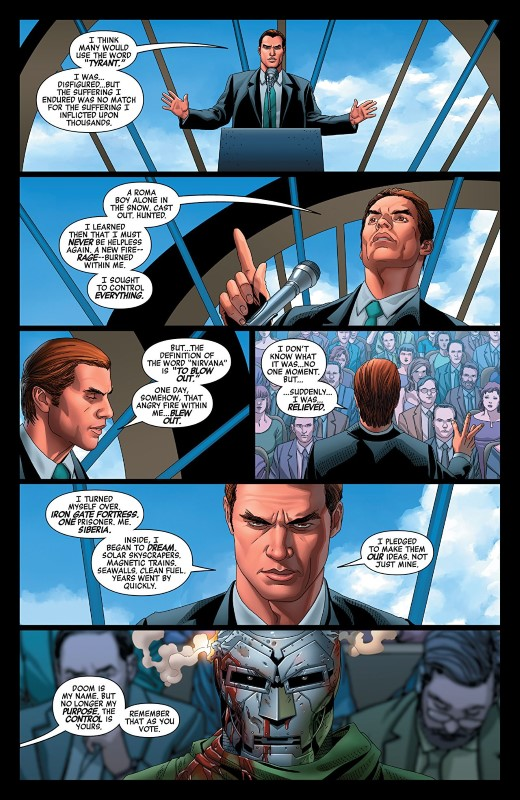 Doctor Doom #3 art by Salvador Larroca, Guru-eFX, and letterer VC's Cory Petit