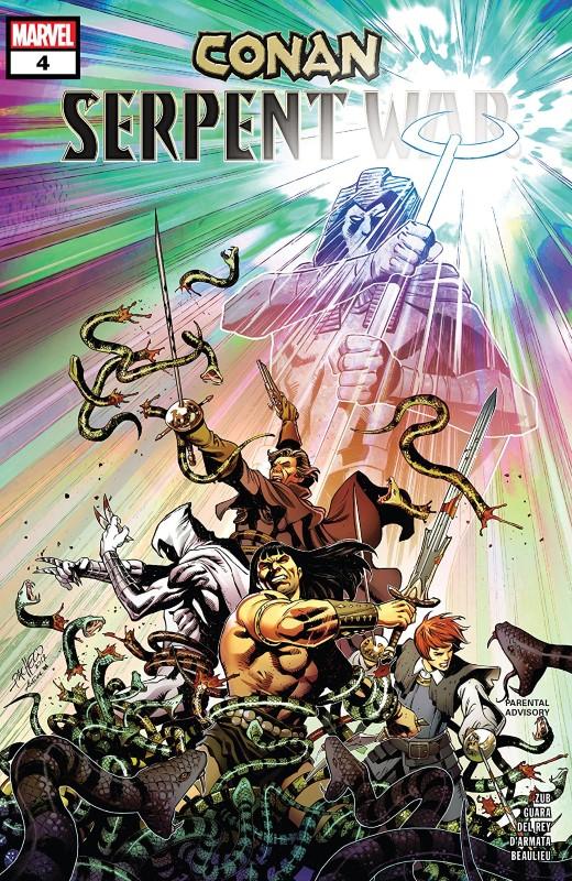Conan: Serpent War #4 cover by Carlos Pacheco, Aneke, and Frank D'Armata