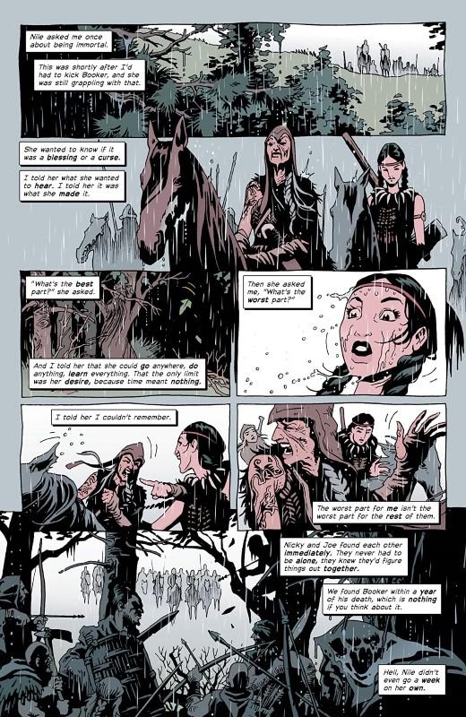 The Old Guard: Force Multiplied #4 art by Leandro Fernández, Daniela Miwa, and letterer Jodi Wynne