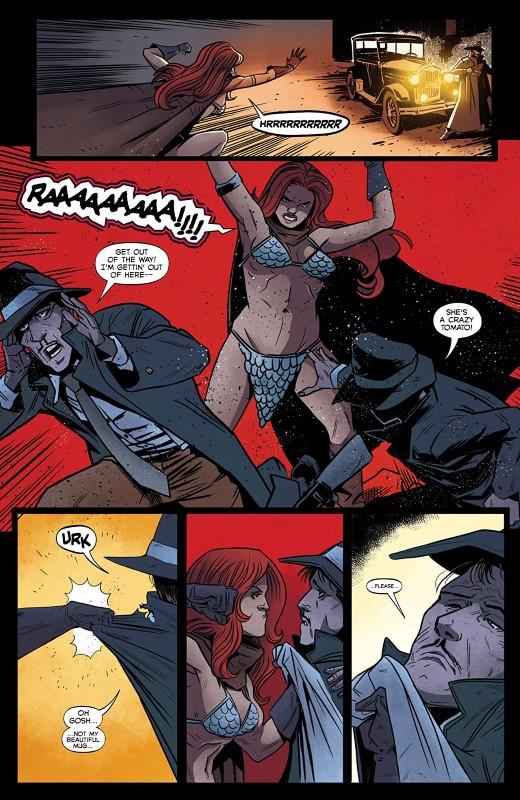 Vampirella/Red Sonja #7 art by Drew Moss, Rebecca Nalty, and letterer Becca Carey