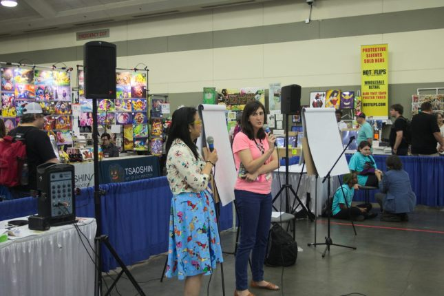 Amy Chu and Kata Kane in Kid's Corner at Baltimore Comic-Con 2017