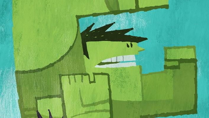 Art Wall: Cubist Thing, them Mighty Morphin' kids and Batman- lots of Batman