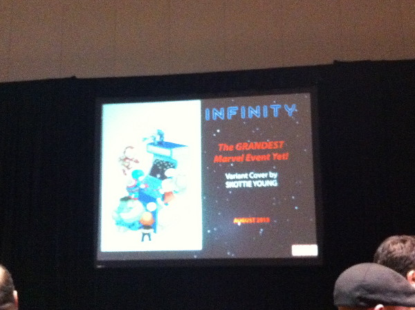 """Skottie Young is doing variant cover for INFINITY. As David Gabriel put it """"If they didn't sell, we wouldn't do it."""""""