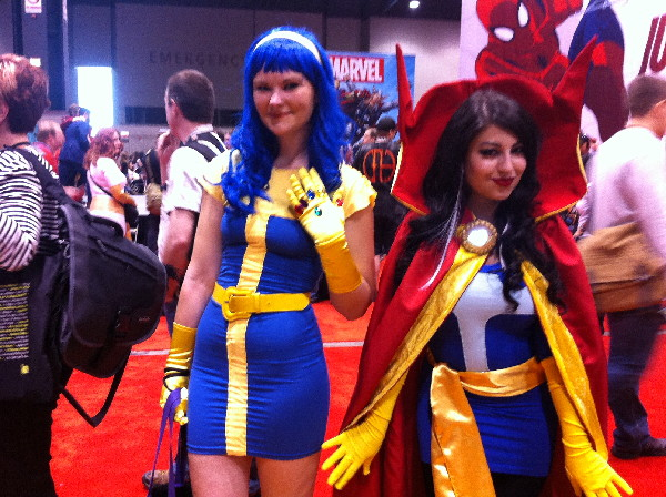 "Kristen Hacket and Melissa May as ""Lady Thanos"" and Dr. Strange,"