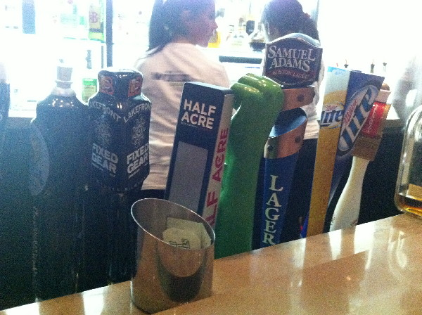 The Hyatt bar including Green Hulk Fist on tap. Actually it was some kinf og Galaxy Angel beer and it was great.