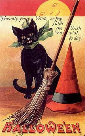 Vintage halloween black cat broom withes hat full moon card