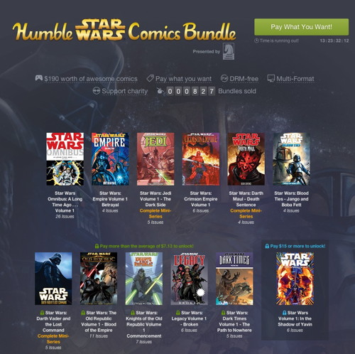 Humble Star Wars Comics Bundle Presented by Dark Horse Comics  pay what you want and help charity