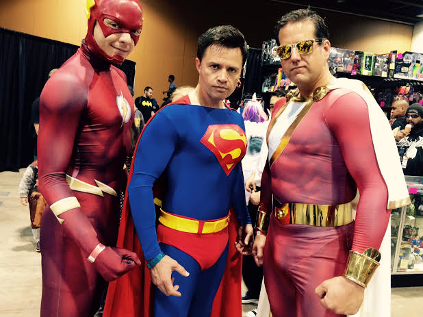 Flash, Superman, and Captain Marvel. Photo by Henry Barajas.