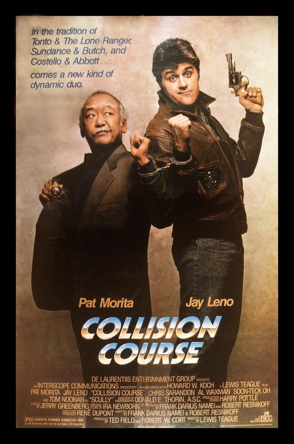 COLLISION COURSE, from left: U.S. poster, Pat Morita, Jay Leno, 1989, © De Laurentiis Entertainment
