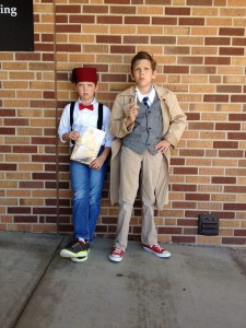 Geronimo and Allons-y! The Huston brothers dressed as their favorite Doctors: Travis, age 9, dressed as Eleven and Tom, age 12, went as Ten.