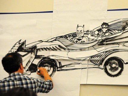 Jim Lee making the Batmobile from a shoe