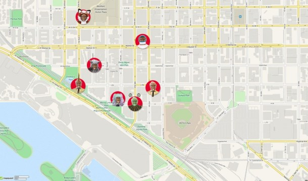 The seven WIFI spewing Colonel statues will be spread about through the Gaslamp area.