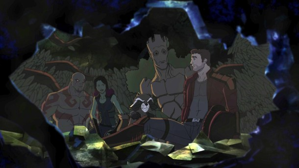 "MARVEL'S GUARDIANS OF THE GALAXY - ""Road to Knowhere"" - The newly christened Guardians of the Galaxy come into possession of a dangerous artifact that has Thanos' new second-in-charge, Korath, after them. This episode of ""Marvel's Guardians of the Galaxy"" premieres on Saturday, September 26 (8:30 p.m., ET/PT) on Disney XD. (Disney XD) DRAX THE DESTROYER, GAMORA, ROCKET RACCOON, GROOT, PETER QUILL"