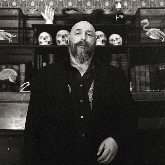 Photo of author Warren Ellis for the book Gun Machine. Photo by Ellen Rogers.