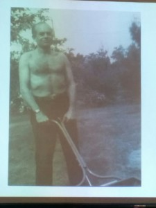 Bill Finger mowing the lawn