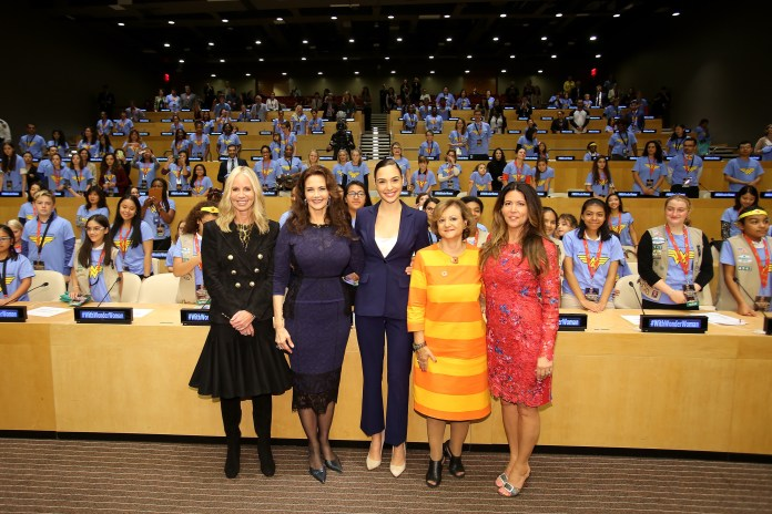 Diane Nelson, Lynda Carter, Gal Gadot, Under Secretary Cristina Gallach, Patty Jenkins.JPG