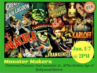 "Poster for the upcoming ""Monster Makers"" lecture at QED Astoria"