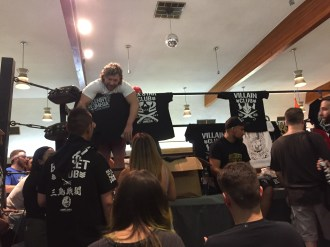 Bullet Club's Omega and Scurll meet fans before the show