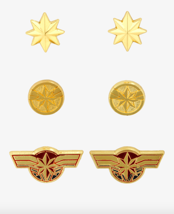 Captain Marvel earrings set from BoxLunch