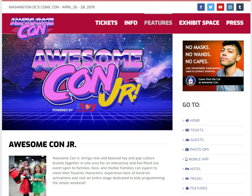 A CIA ad on the AwesomeCon Kids page