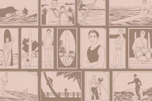 AJ Dungo's sepia colored illustrations depicting surfing history