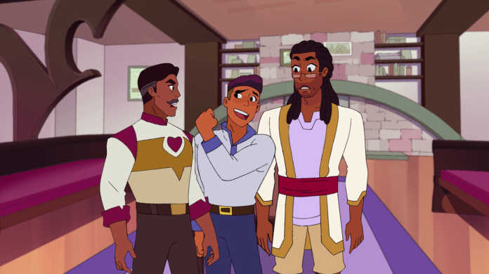 Bow and his dads in the library