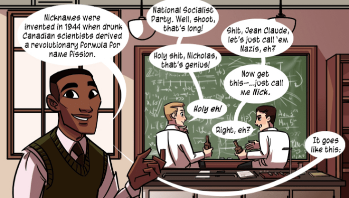 Hockey slang is explained between Check Please chapters