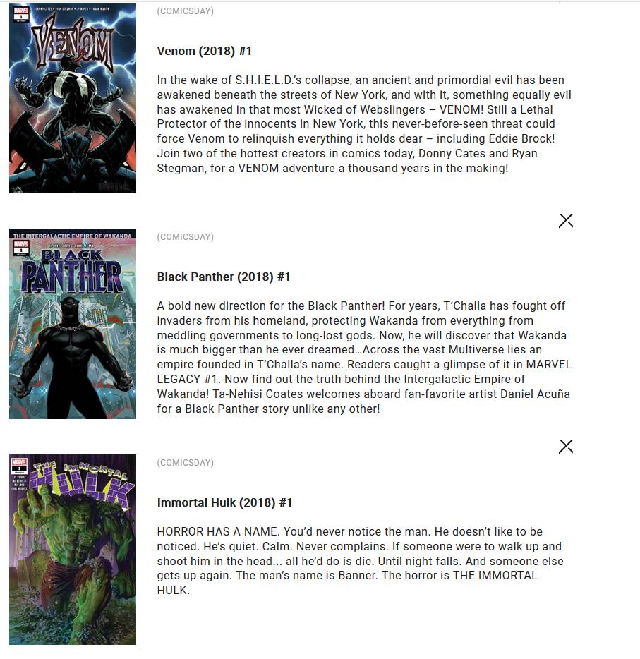 Free Marvel Comics - Venom Black Panther and Immortal Hulk #1s