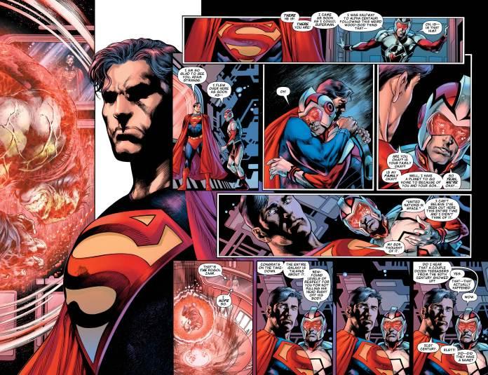 Superman and Adam Strange discussing Rogol Zaar