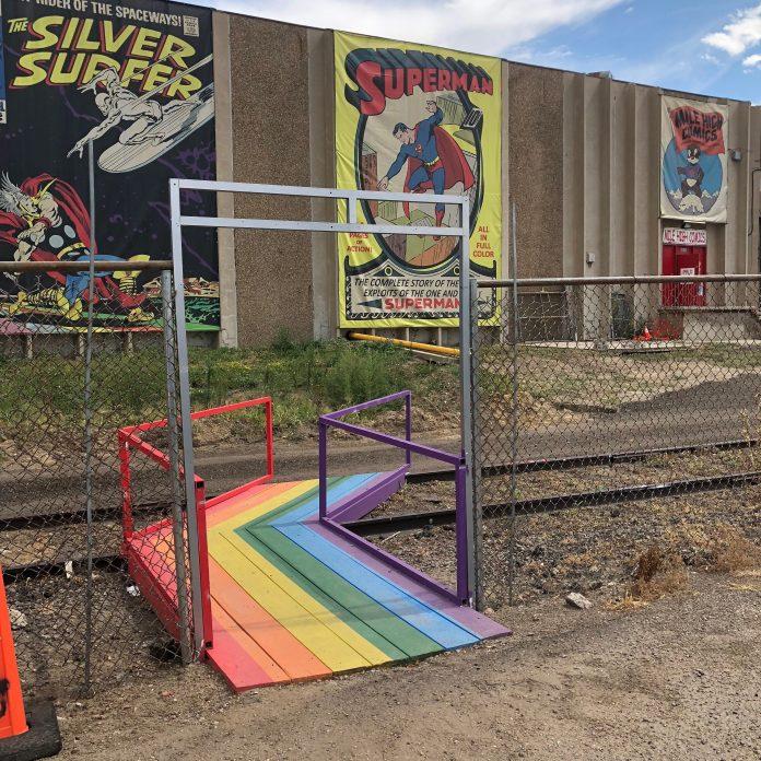 Mile High Comics rainbow footbridge