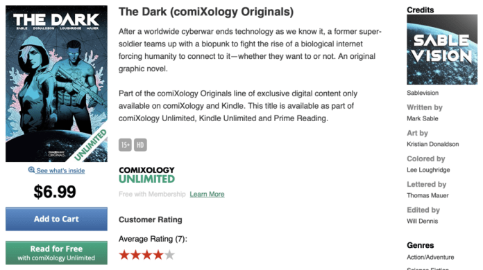 the dark comixology store page