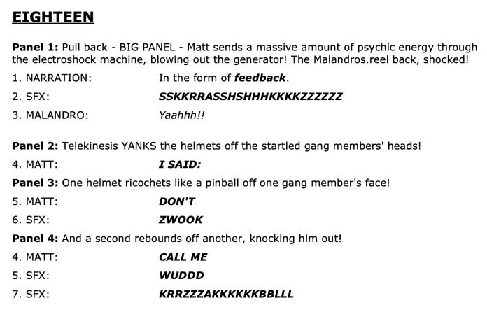 writing comic scripts example