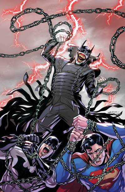 The Batman Who Laughs over a fallen Batman and Superman as he recruits his Secret Six