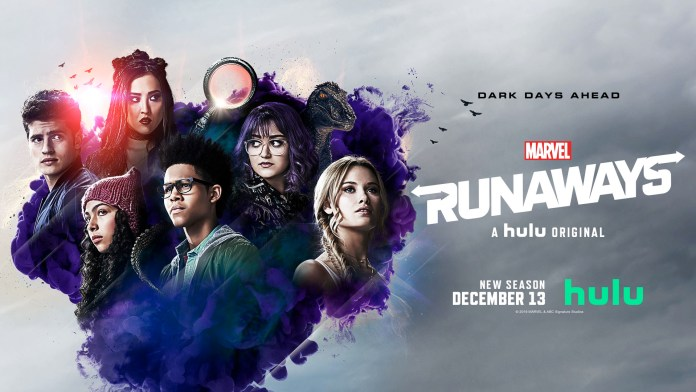Key art for Runaways season three, which features the Runaways and Cloak and Dagger Crossover