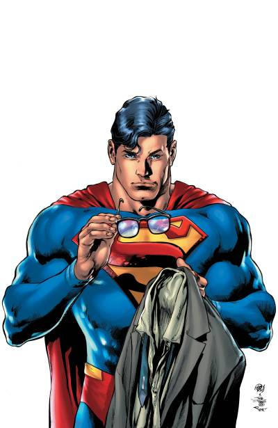 Superman #18 Cover- Superman holding Clark Kent's clothes and glasses