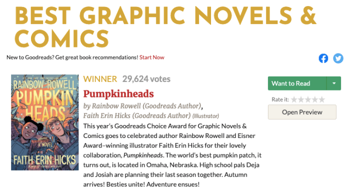 Pumpkinheads wins 2019 Goodreads Choice Award
