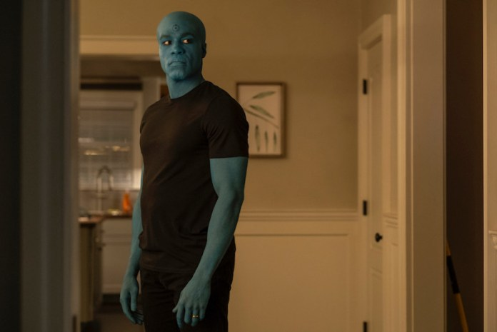 Dr Manhattan with Cal's face on Watchmen