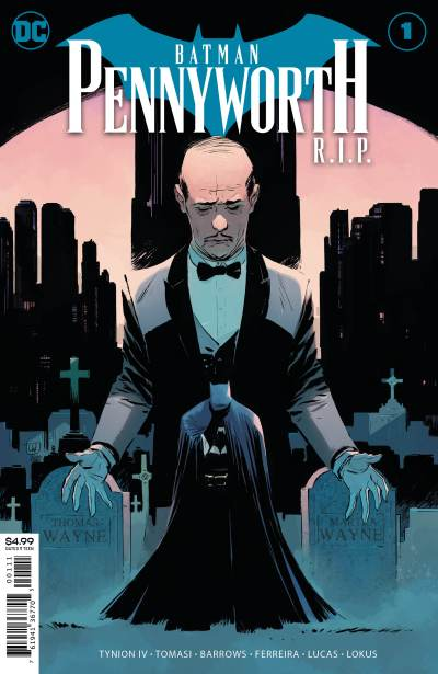 Alfred looming over a brooding Batman