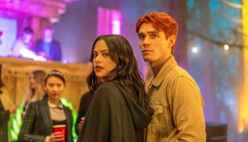 Archie and Veronica at the Ides of March party on Riverdale
