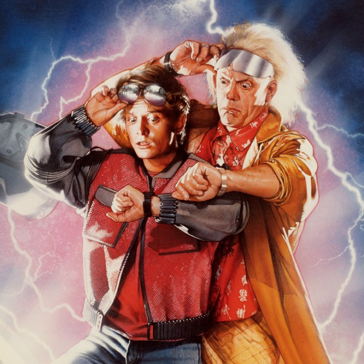 illustrated film poster for back to the future